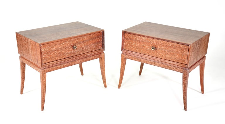 Pair of Tommi Parzinger Cerused Nightstands or Side Tables For Sale 9