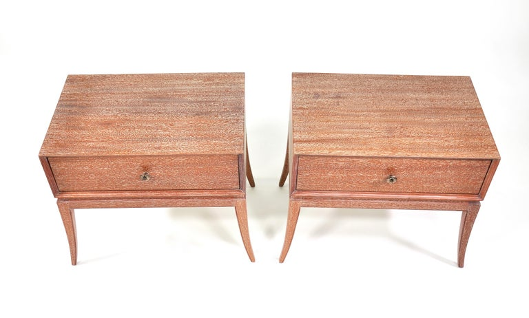 Pair of Tommi Parzinger Cerused Nightstands or Side Tables For Sale 10