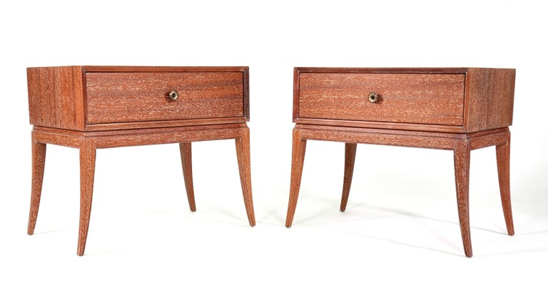 Mid-Century Modern Pair of Tommi Parzinger Cerused Nightstands or Side Tables For Sale