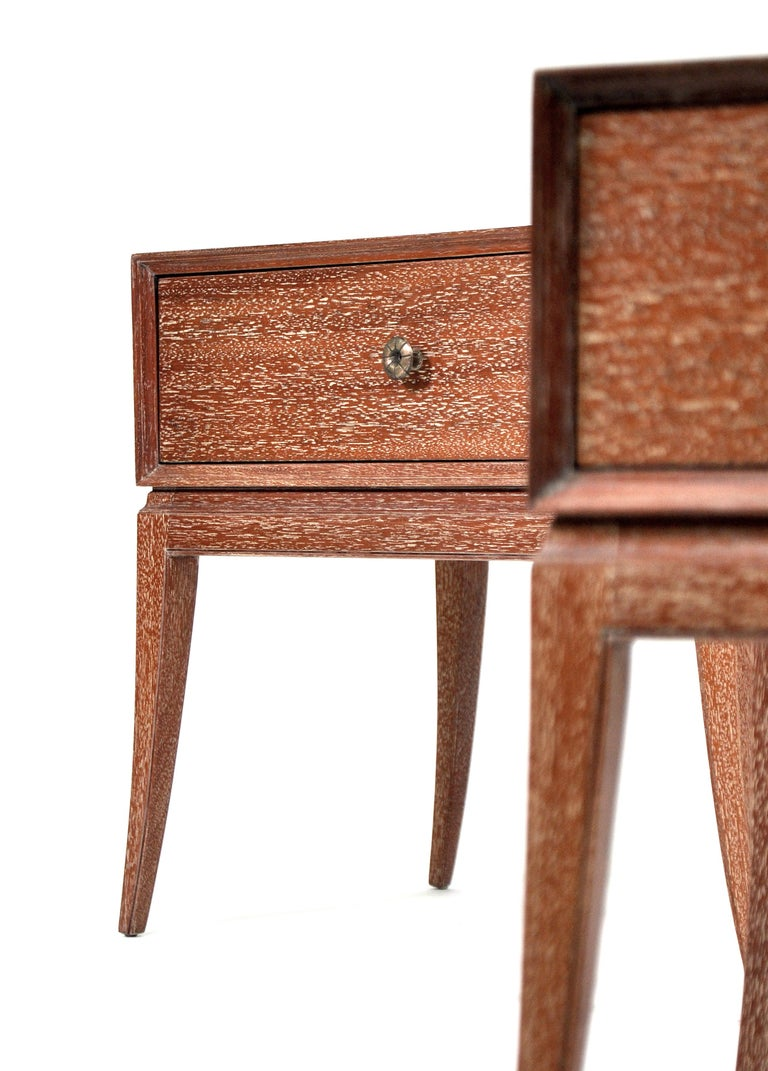 American Pair of Tommi Parzinger Cerused Nightstands or Side Tables For Sale