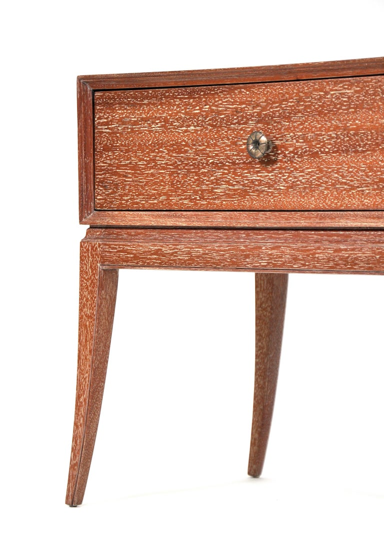 Patinated Pair of Tommi Parzinger Cerused Nightstands or Side Tables For Sale