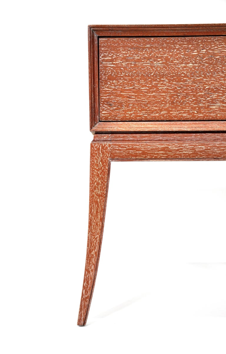 Pair of Tommi Parzinger Cerused Nightstands or Side Tables In Good Condition For Sale In Miami, FL