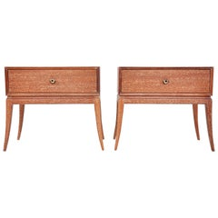 Pair of Tommi Parzinger Cerused Nightstands or Side Tables