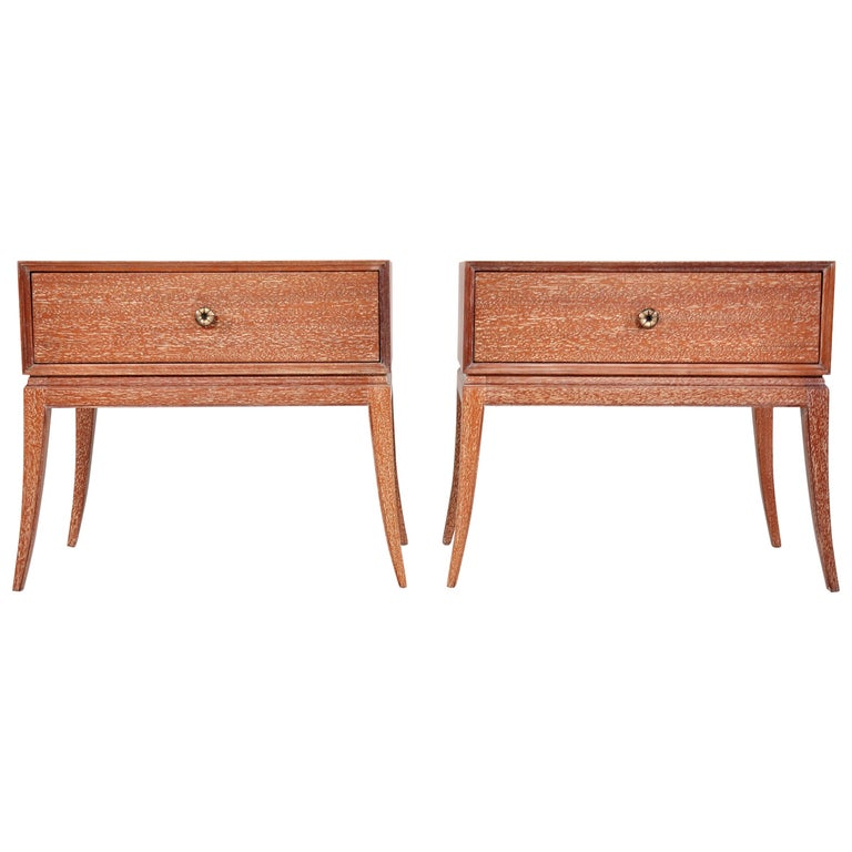 Pair of Tommi Parzinger Cerused Nightstands or Side Tables For Sale