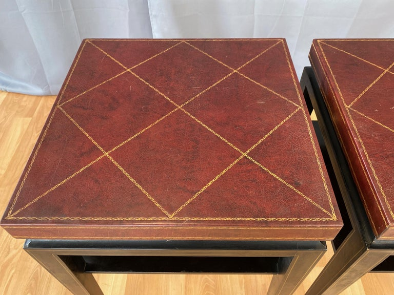 Pair of Tommi Parzinger Leather Top Ebonized Mahogany Occasional Tables, 1950s For Sale 4