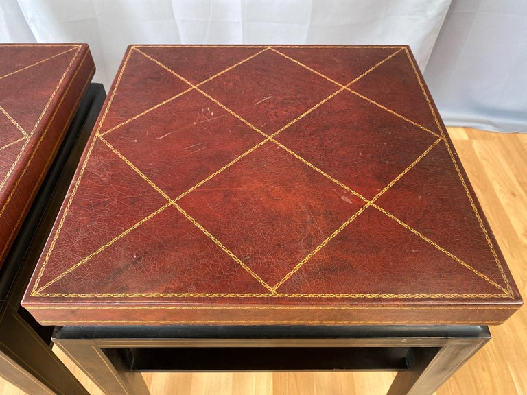 Pair of Tommi Parzinger Leather Top Ebonized Mahogany Occasional Tables, 1950s For Sale 5