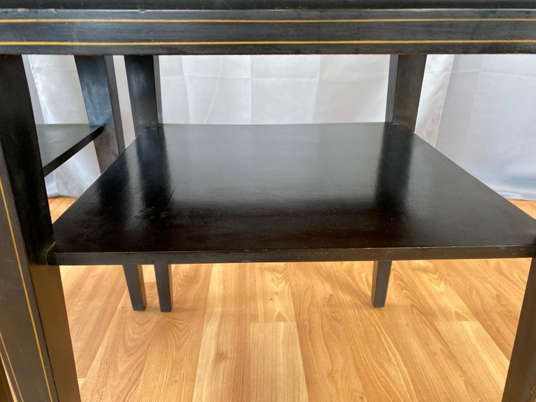Pair of Tommi Parzinger Leather Top Ebonized Mahogany Occasional Tables, 1950s For Sale 7