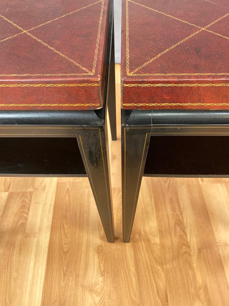 Pair of Tommi Parzinger Leather Top Ebonized Mahogany Occasional Tables, 1950s For Sale 8