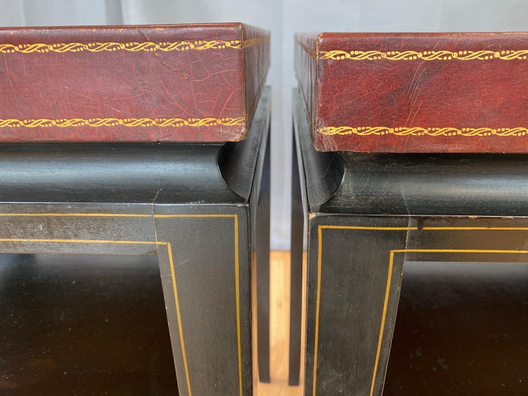 Pair of Tommi Parzinger Leather Top Ebonized Mahogany Occasional Tables, 1950s For Sale 9