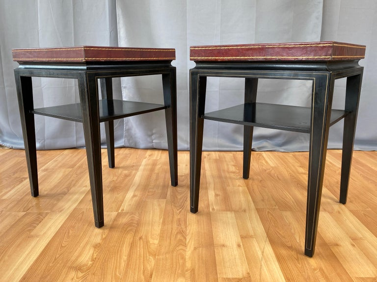 Hollywood Regency Pair of Tommi Parzinger Leather Top Ebonized Mahogany Occasional Tables, 1950s For Sale