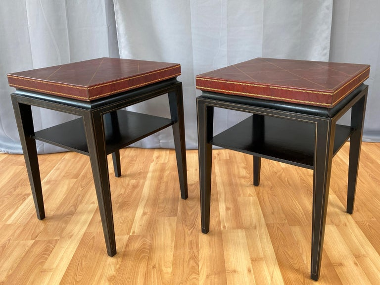 American Pair of Tommi Parzinger Leather Top Ebonized Mahogany Occasional Tables, 1950s For Sale