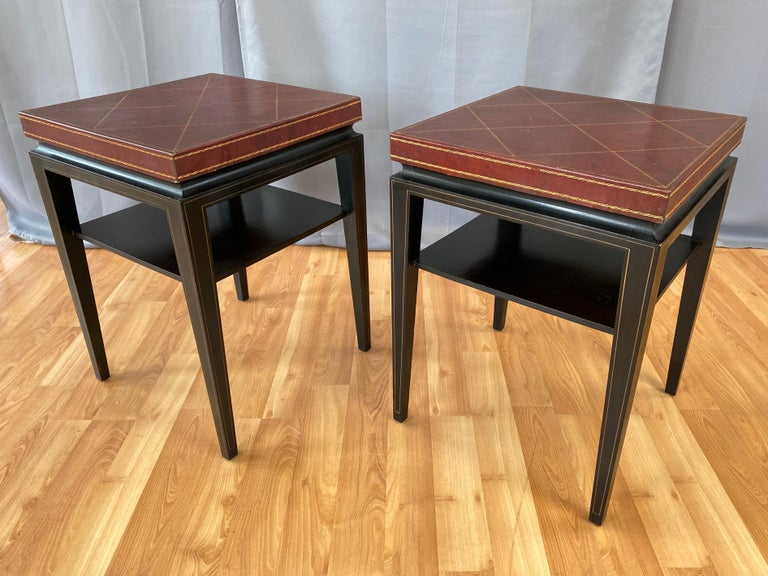 Pair of Tommi Parzinger Leather Top Ebonized Mahogany Occasional Tables, 1950s In Good Condition For Sale In San Francisco, CA