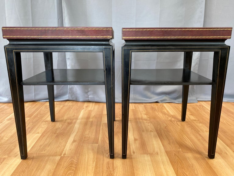 Mid-20th Century Pair of Tommi Parzinger Leather Top Ebonized Mahogany Occasional Tables, 1950s For Sale