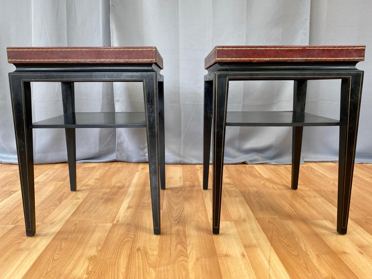 Pair of Tommi Parzinger Leather Top Ebonized Mahogany Occasional Tables, 1950s For Sale 1
