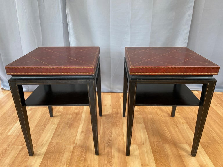 Pair of Tommi Parzinger Leather Top Ebonized Mahogany Occasional Tables, 1950s For Sale 2