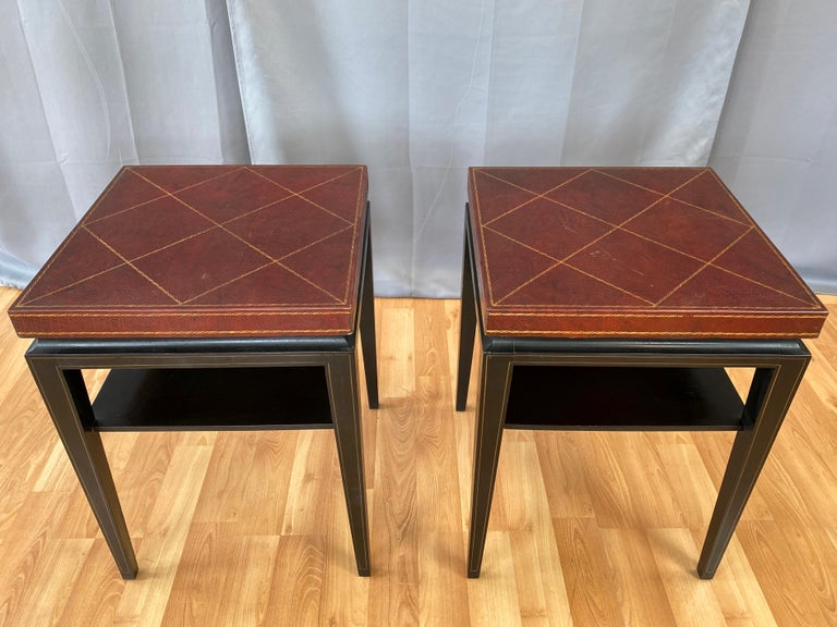 Pair of Tommi Parzinger Leather Top Ebonized Mahogany Occasional Tables, 1950s For Sale 3