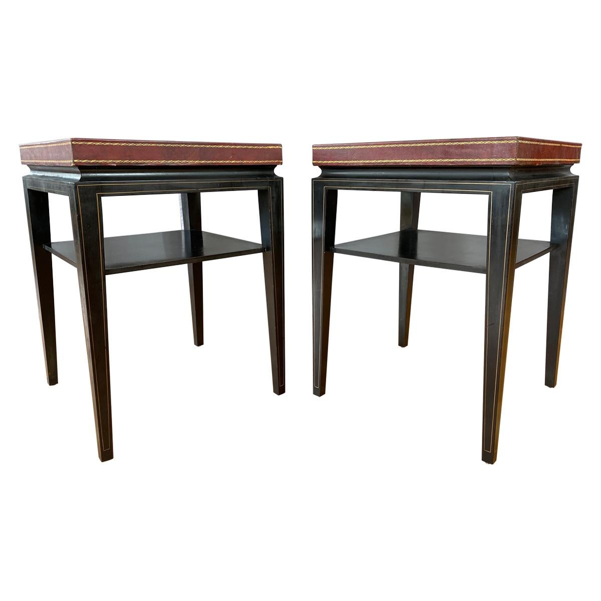 Pair of Tommi Parzinger Leather Top Ebonized Mahogany Occasional Tables, 1950s