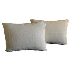 Pair of Tone-on-Tone Beige Eyelet Linen Decorative Bolster Pillows