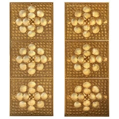 Pair of Tony Duquette Gilt Lacquered Shell Panels