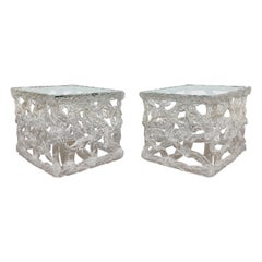 """Pair of Tony Duquette Style Clear Acrylic """"Taffy Pull"""" End Tables, Ca. 1970s"""