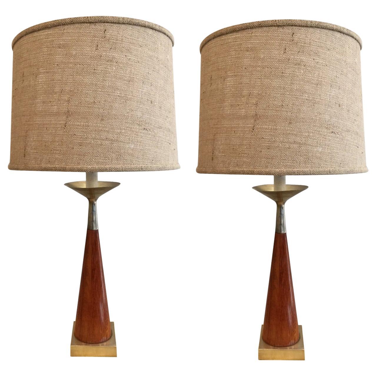 Pair of Tony Paul Brass and Walnut Lamps