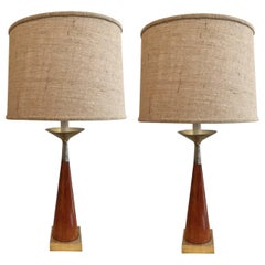 Pair of Tony Paul Brass and Walnut Lamps