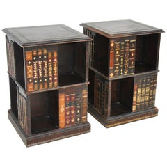Pair of Tooled Leather Faux Book Nightstands Side Tables by Maitland Smith
