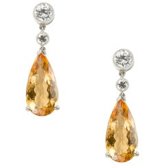 Pair of Topaz and Diamond Drop Earrings