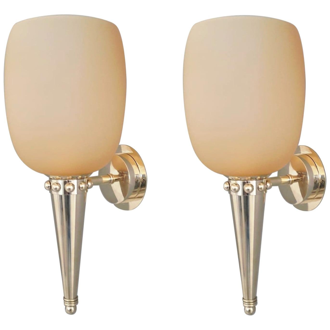 Pair of Torch Sconces by Barovier e Toso, 3 Pairs Available