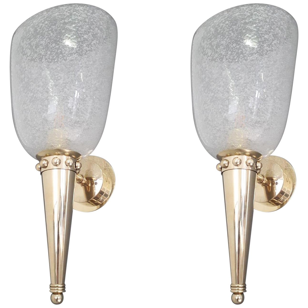Pair of Torch Sconces by Barovier et Toso