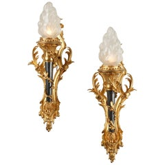 Pair of Torch Wall-Lights by Gagneau