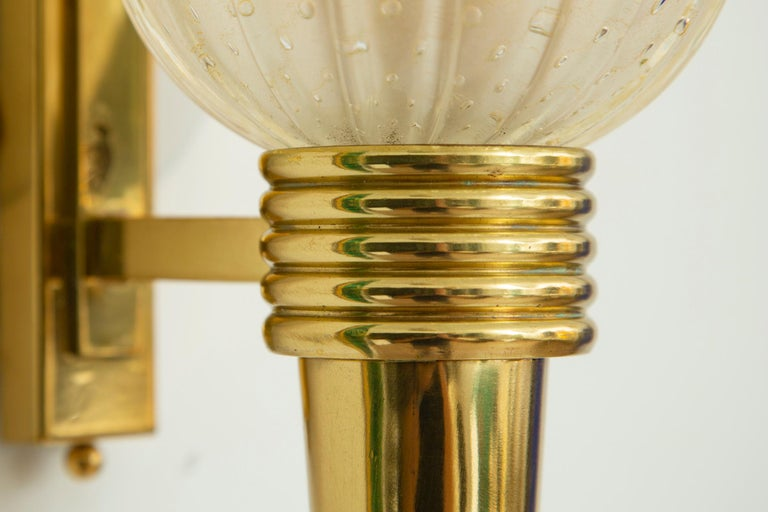 Contemporary Pair of Torchiere Brass & Murano Glass Wall Sconces, in Stock For Sale