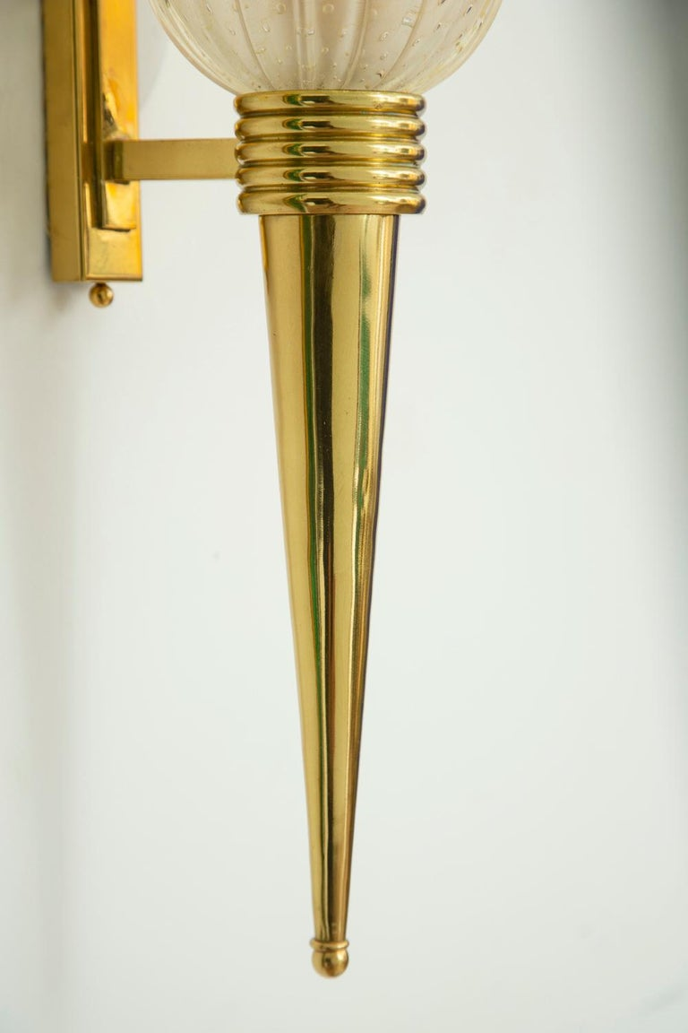 Pair of Torchiere Brass & Murano Glass Wall Sconces, in Stock For Sale 1