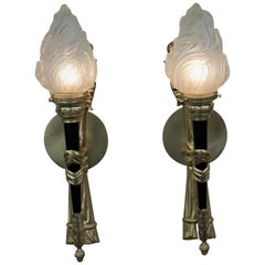 Pair of Torchiere Empire Style Bronze Wall Sconces