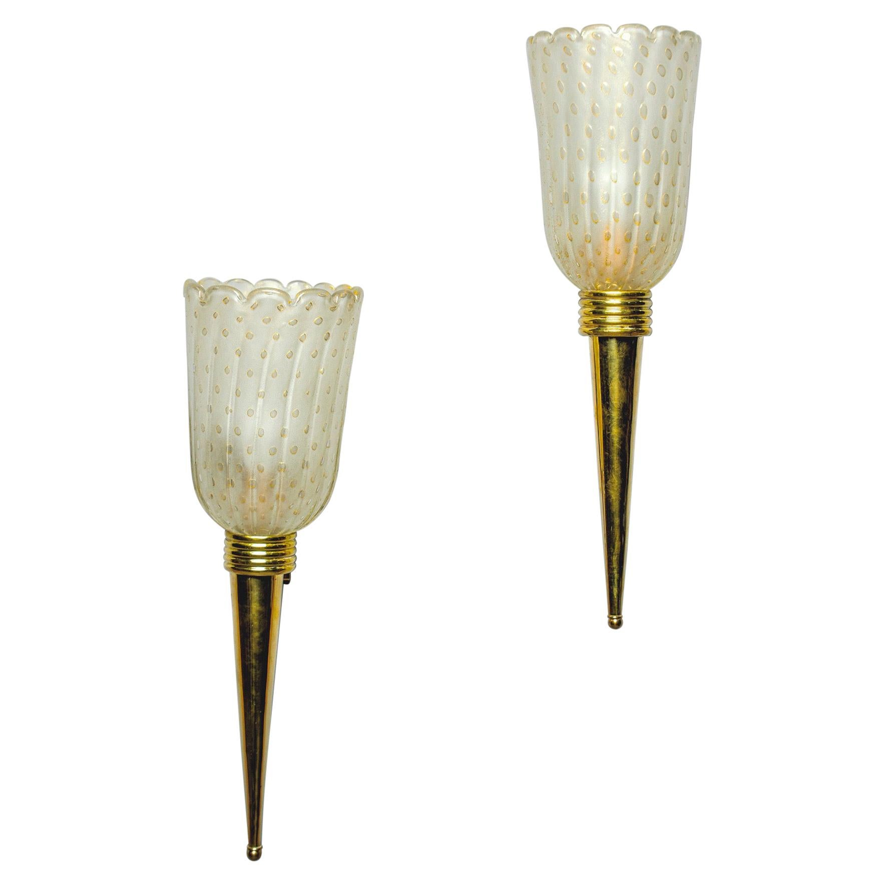 Pair of Torchiere Style Sconces with Murano Glass and Brass Fittings