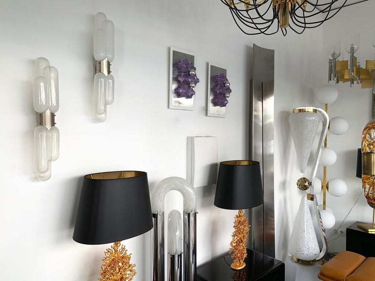 Pair of Torpedo Sconces by Carlo Nason for Mazzega Murano, Italy, 1970s For Sale 1
