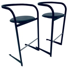 Pair of Toshiyuki Kita Postmodern Bar Stools for ICF by Atelier