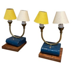 Pair of Totally French Vintage Table Lamps in Blue White & Yellow France, 1950s