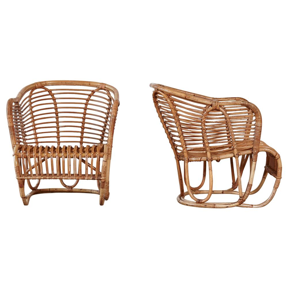 Pair of Tove & Edvard Kindt-Larsen Bamboo and Cane Chairs, Denmark, 1940s