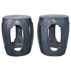 Pair of Traditional Chinese Gunmetal Grey Garden Seats