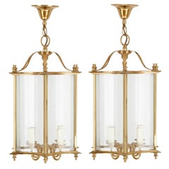 Pair of Traditional French Brass Framed Glass Lanterns