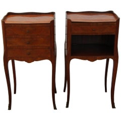 Pair of Traditional Mahogany Nightstands with Marquetry and Queen Anne Legs