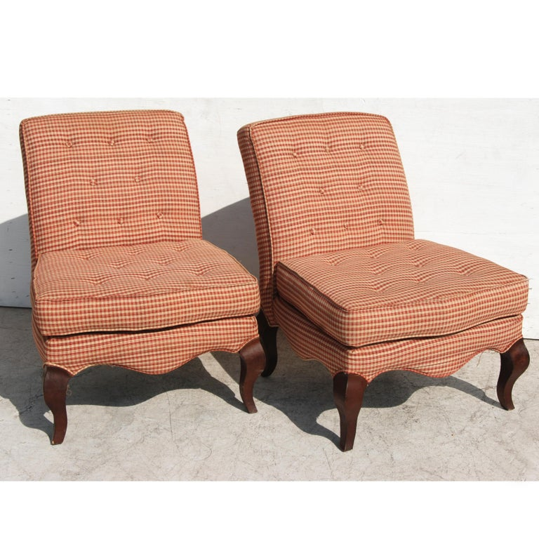 Mid-Century Modern Pair of Traditional Queen Anne Slipper Chairs For Sale