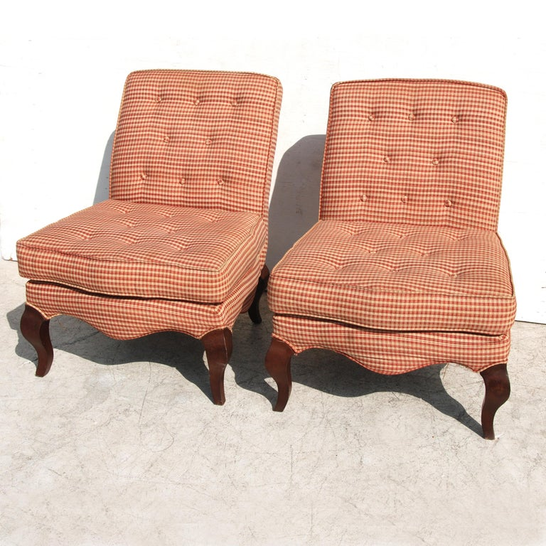 American Pair of Traditional Queen Anne Slipper Chairs For Sale