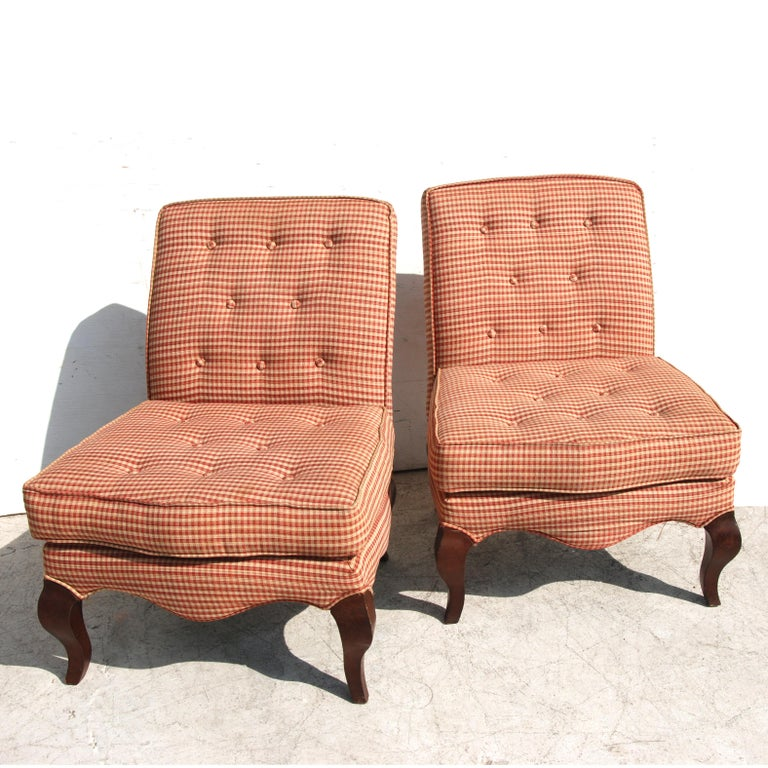 Fabric Pair of Traditional Queen Anne Slipper Chairs For Sale