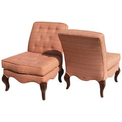Pair of Traditional Queen Anne Slipper Chairs
