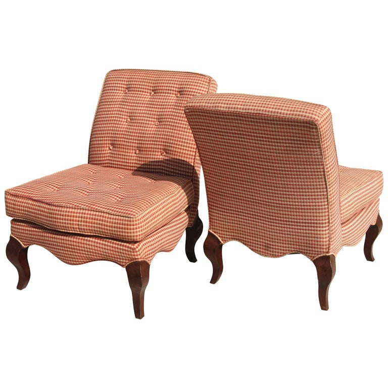 Pair of Traditional Queen Anne Slipper Chairs For Sale