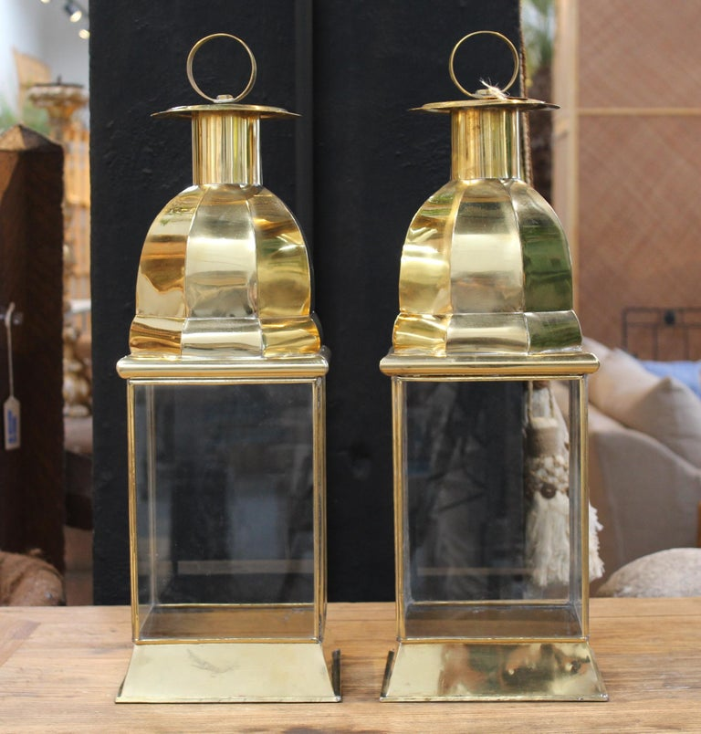 Pair of traditional Spanish rectangular brass lamps with glass.
