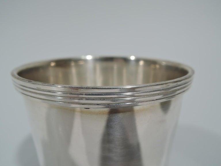 Modern Pair of Traditional Sterling Silver Mint Julep Cups by Fisher For Sale