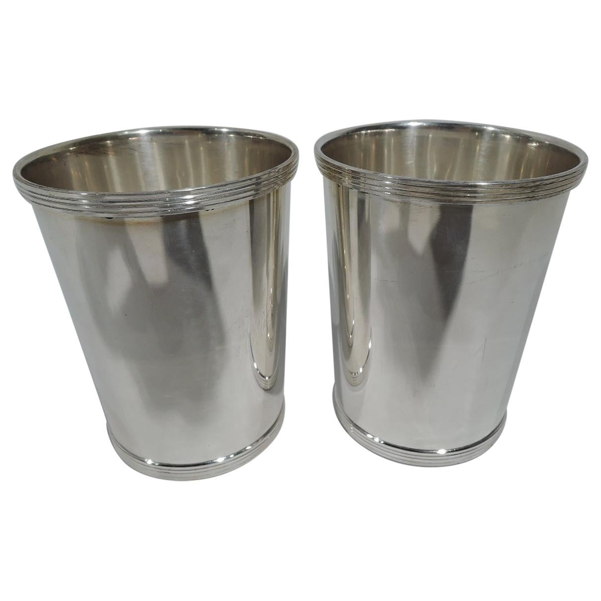 Pair of Traditional Sterling Silver Mint Julep Cups by Fisher